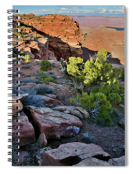 Eastern Canyonlands And La Sal Mountains From Grand View Points Spiral Notebook