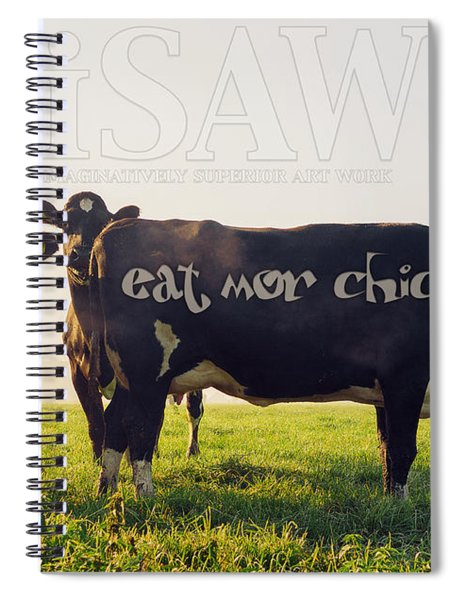 Spiral Notebook featuring the digital art Eat Mor Chickn by ISAW Company