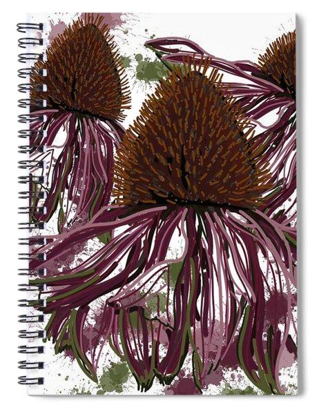 Echinacea Flowers Line Spiral Notebook