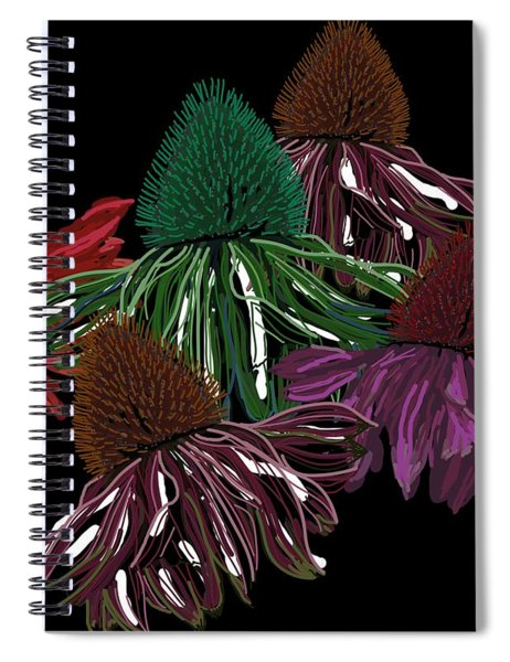 Echinacea Flowers With Black Spiral Notebook