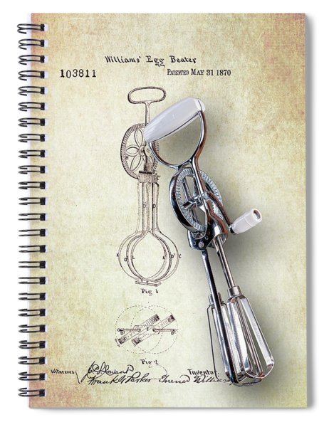 Eggbeater With Antique Eggbeater Patent Spiral Notebook