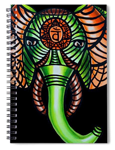 Zentangle Elephant Head Art Painting, Sacral Chakra Art, African Animal Tribal Artwork Spiral Notebook