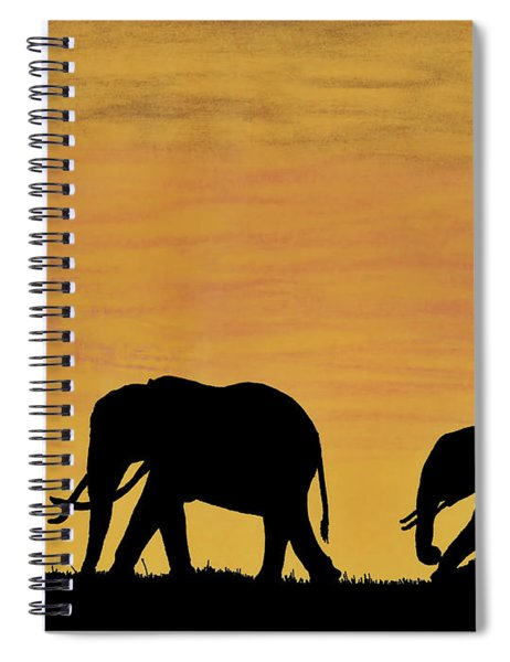 Elephants - At - Sunset Spiral Notebook