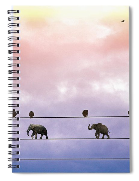 Elephants On The Wires Spiral Notebook