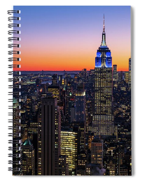 Empire State Building And Lower Manhattan At Sunset Spiral Notebook