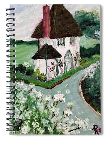 English Countryside White Cottage Spiral Notebook