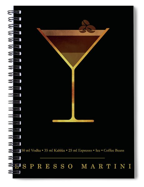Espresso Martini Cocktail - Classic Cocktails Series - Black And Gold - Modern, Minimal Decor Spiral Notebook