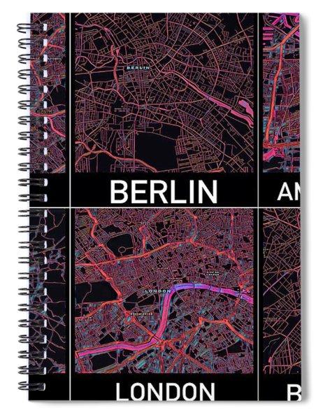 European Capital Cities Maps Spiral Notebook
