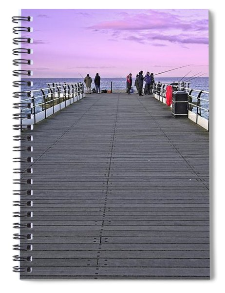 Evening Fishing On Saltburn Pier Spiral Notebook