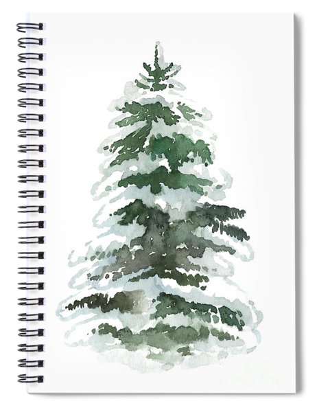 Evergreen Tree Covered In Snow Spiral Notebook