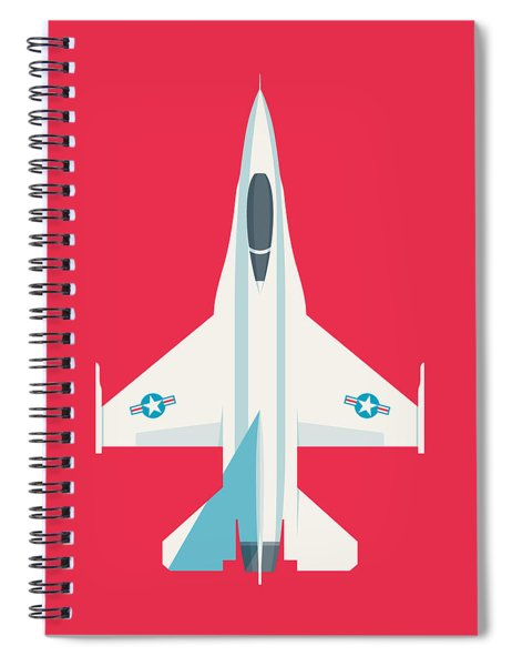 F-16 Falcon Fighter Jet Aircraft - Crimson Spiral Notebook