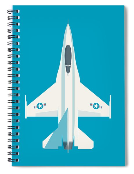 F-16 Falcon Fighter Jet Aircraft - Cyan Spiral Notebook