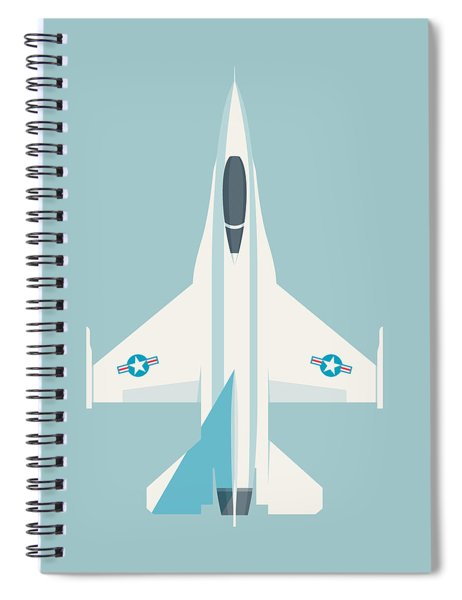F-16 Falcon Fighter Jet Aircraft - Sky Spiral Notebook