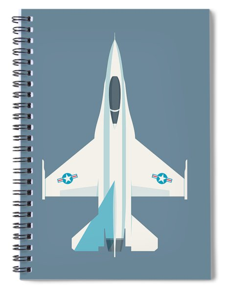 F-16 Falcon Fighter Jet Aircraft - Slate Spiral Notebook