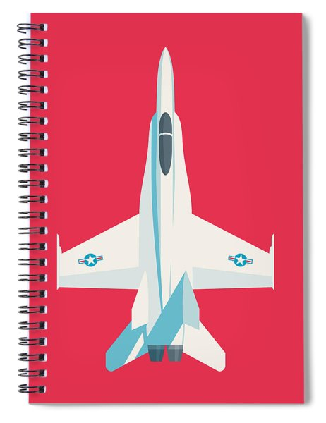 F-18 Hornet Jet Fighter Aircraft - Crimson Spiral Notebook