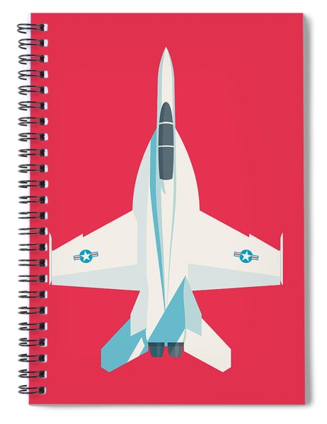 F-18 Super Hornet Jet Fighter Aircraft - Crimson Spiral Notebook