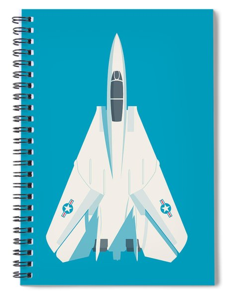 F14 Tomcat Fighter Jet Aircraft - Cyan Spiral Notebook