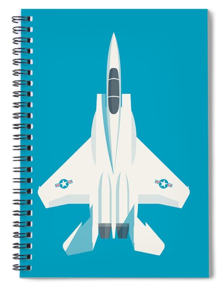 F15 Eagle Fighter Jet Aircraft - Blue Spiral Notebook