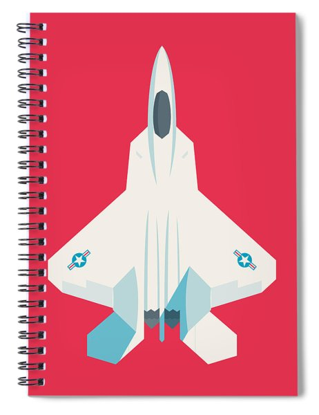 F22 Raptor Jet Fighter Aircraft - Crimson Spiral Notebook