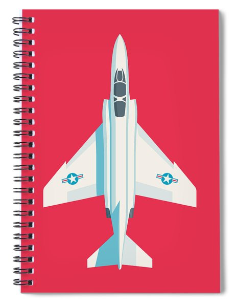 F4 Phantom Jet Fighter Aircraft - Crimson Spiral Notebook