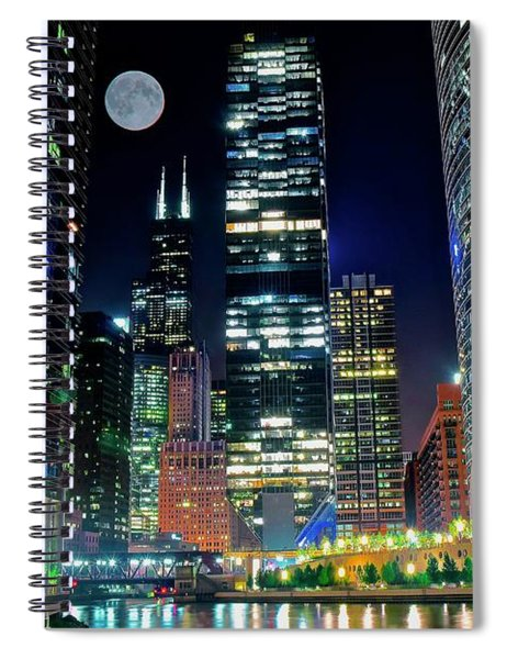Fabulous Full Moon Over The Windy City Spiral Notebook