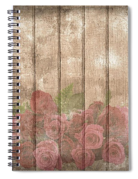 Faded Red Country Roses On Wood Spiral Notebook