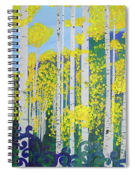 Spiral Notebook featuring the painting Fall Aspens by Lisa Smith