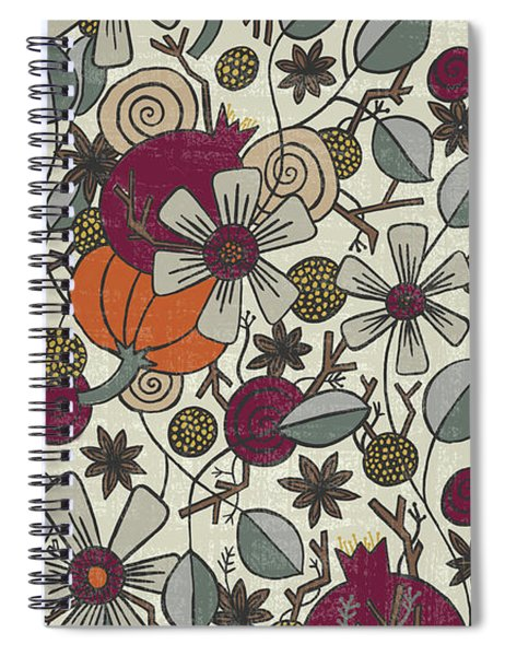 Fall Botanical Art Cream Background Spiral Notebook