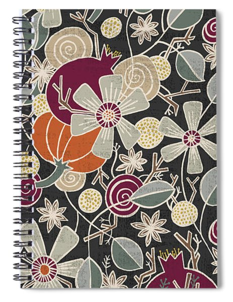 Fall Botanical Art Black Background Spiral Notebook