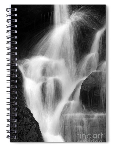 Falling Water, Mount Rainier National Park, Black And White Spiral Notebook