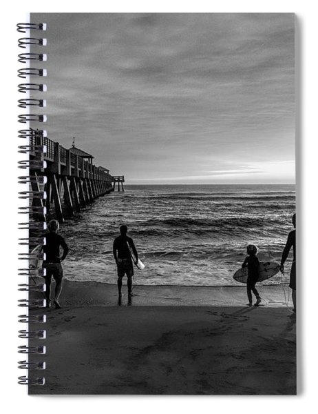 Family Surfing In Black And White Spiral Notebook