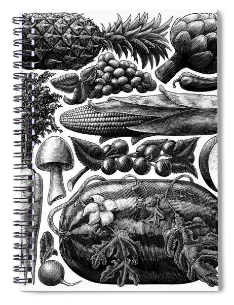 Farmer's Market - Bw Spiral Notebook