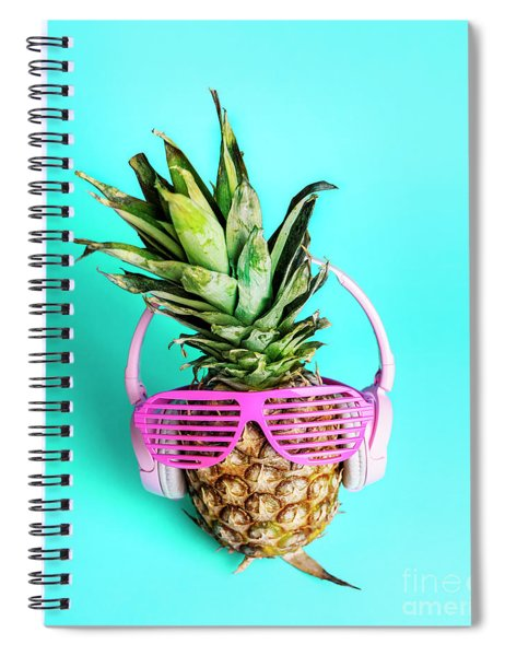 Fashionable Trendy Pineapple Fruit With Headphones And Sun Glass Spiral Notebook