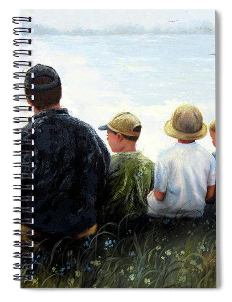 Father Three Sons By Lake Spiral Notebook