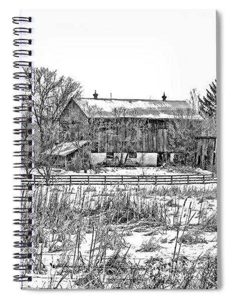 February Farm Bw  Spiral Notebook