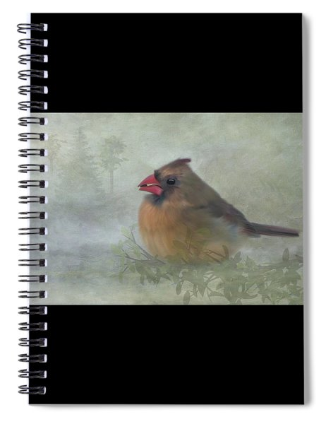 Spiral Notebook featuring the photograph Female Cardinal With Seed by Patti Deters