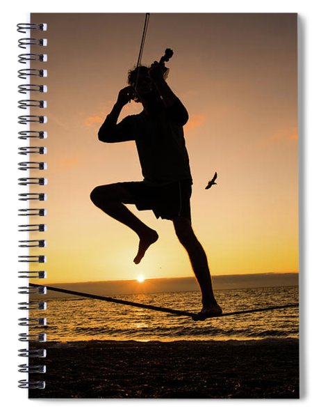 Fiddle Playing At Sunset In Aberystwyth Spiral Notebook