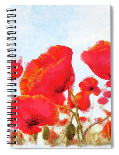 Field Of Dreams Poppy Watercolor Floral Art Spiral Notebook