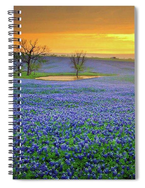 Field Of Dreams Texas Sunset - Texas Bluebonnet Wildflowers Landscape Flowers  Spiral Notebook