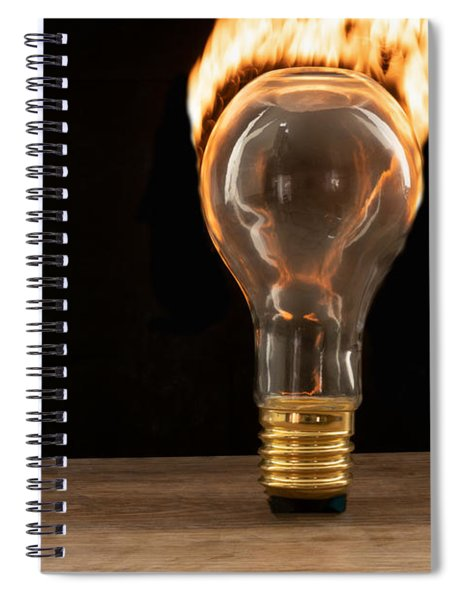 Fire And Flames Ignited Out Of Light Bulb Spiral Notebook