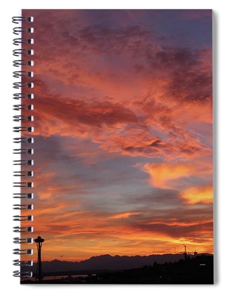 Firey Red Seattle Sky Spiral Notebook