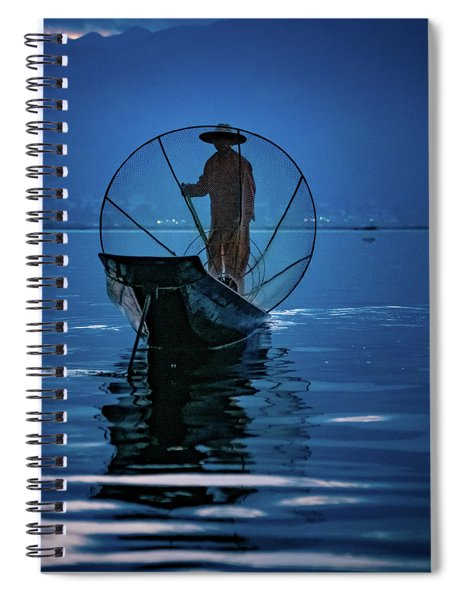 Fisherman At First Light On Inle Lake Spiral Notebook
