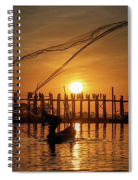 Fisherman On Taungthaman Lake Spiral Notebook