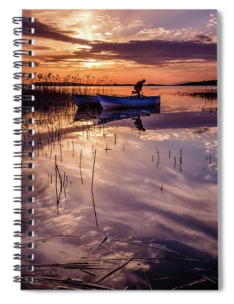Fisherman On The Boat Spiral Notebook