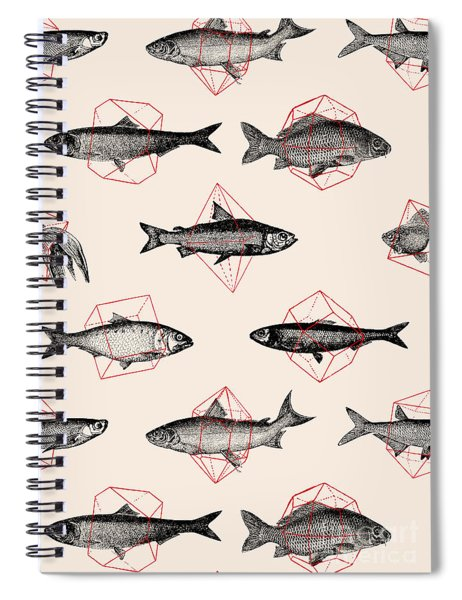 Fishes In Geometrics Spiral Notebook