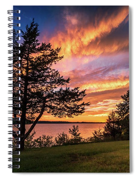 Fishing At End Of Day Spiral Notebook