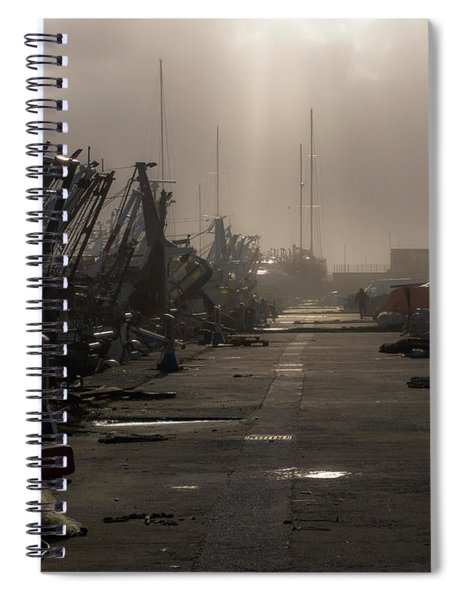 Fishing Boats Moored In The Harbor Spiral Notebook