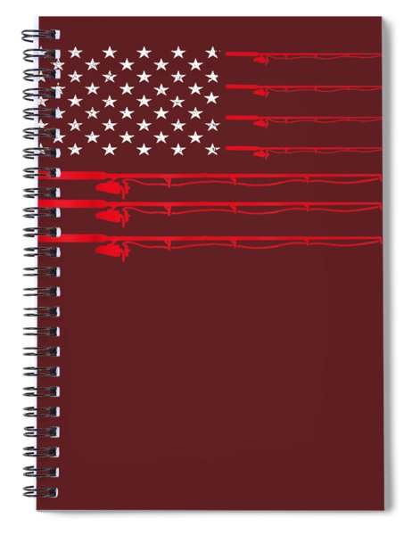 Fishing Rod T Shirt American Usa Flag - Fisherman Gift Idea Spiral Notebook
