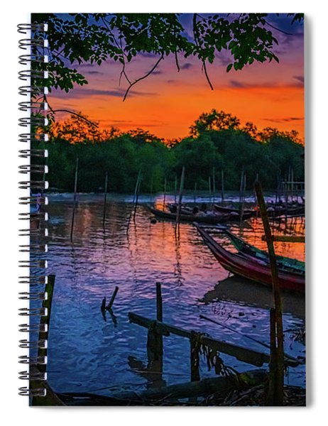 Fishing Village At Sunrise Spiral Notebook