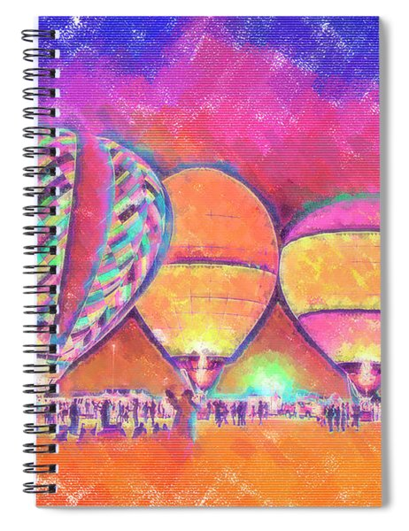 Five Glowing Hot Air Balloons In Pastel Spiral Notebook